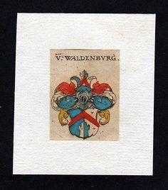 17. Jh. von Waldenburg Wappen coat of arms heraldry Heraldik Kupferstich