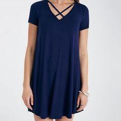 Short Sleeve Shift Dress With Crisscross Neckline | Wet Seal