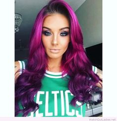 Long purple curls and makeup for green eyes
