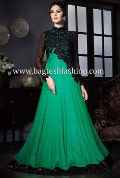 Embroidered Green Satin Silk Anarkali Indian Attire, Indian Wear, Churidar, Salwar Kameez, Wedding Outfits, Wedding Gowns, Indian Fashion Salwar, Ladies Dresses, Formal Dresses
