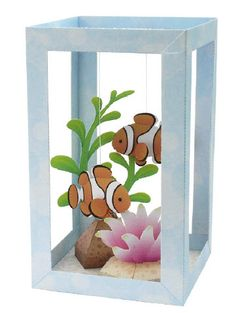Arts and Crafts for Kids - Tissue Box Aquarium - Glow in the Dark Paint can turn the fish, plants, or box into a night light