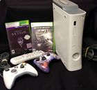 XBOX 360 Console White 2 Controllers 2 Games Remote Skyrim Fallout Bundle