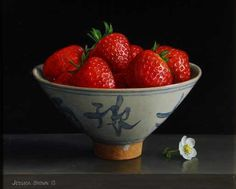 Still life with Strawberries in a Qing Bowl and Strawberry Flower