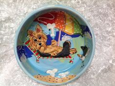 Hand Painted Dog Bowl / Whimsical Yorkshire Terrier / Ceramic Dog Bowl / Dog Pottery /  Debby Carman / Faux Paw Productions by FauxPawProductions on Etsy