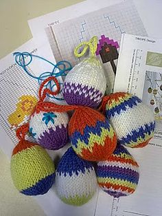 knitted eggs  for inspiration only. Pattern is hard to find