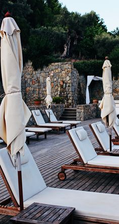 Pool area at Hotel Son Brull after a beautiful summer day in Mallorca. The perfect place to relax in the sun.