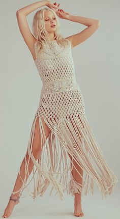 Flook Labyrinth Dress at Free People Clothing Boutique Crochet Top Outfit, Crochet Baby Jacket, Crochet Clothes, Maxi Skirt Boho, Boho Dress, Macrame Dress, Dress Making, Ideias Fashion, Knitwear