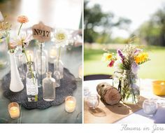 flowers-and-jars. Read More - http://onefabday.com/10-outdoor-wedding-decor-ideas/