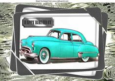 1949 turq oldsmobile vintage car in frame A4 on Craftsuprint - Add To Basket!