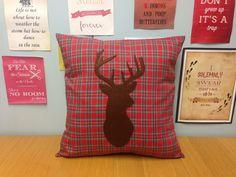Red Tartan Cushion Pillow Brown Stag Deer Head Animal Design Applique Rustic…