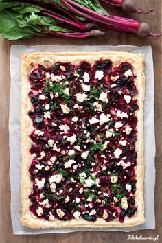 Beetroot, feta and ricotta puff pastry tart with fresh dill.