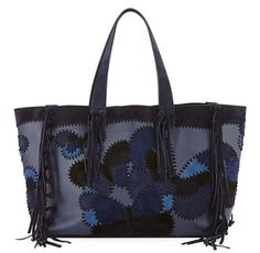 Valentino -- C Rockee Butterfly Embroidered Fringe Tote Bag