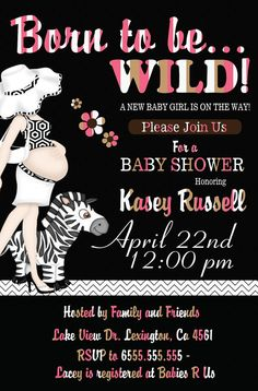 Girl Baby Shower Invitation Born to be wild by smrpartydesigns, $10.00
