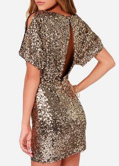 gold sequined cut out party dress