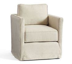 SoMa Jessie Track Arm Slipcovered Swivel Armchair, Polyester Wrapped Cushions, Basketweave Slub Oatmeal