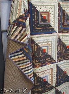 MUSEUM FIND 1860s Log Cabin CHALLIS Antique QUILT Brown Narrow Logs 93 x 80""