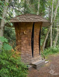 Cutest outhouse ever at Free Spirit Spheres: Treehouses-in-the-Round on Vancouver Island Columbia Outdoor, British Columbia, Columbia Travel, Hiking Guide, Northwest Territories, Newfoundland And Labrador, New Brunswick, Vancouver Island, Canada Travel