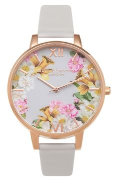 A high-polish rose gold-plated case and floral-print dial amp the feminine appeal of a beautiful round watch paired with a leather strap.