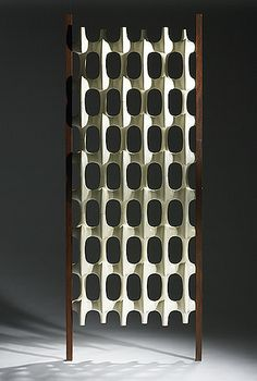 Richard Harvey Room Divider, laquered plastic and walnut, ca. 1960