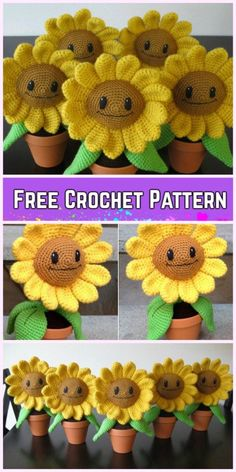 Crochet 3D Flower In Pot Free Crochet Pattern - Crochet Sunflower Amigurumi Free Pattern