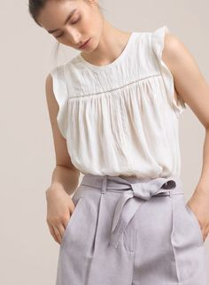 MERYON BLOUSE // white sleeveless top with ruffle detail