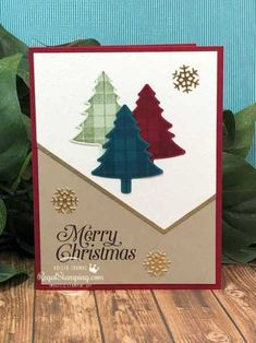 Perfectly Plaid Christmas Trees by sanitystamper - Cards and Paper Crafts at Splitcoaststampers Stamped Christmas Cards, Christmas Card Crafts, Homemade Christmas Cards, Christmas Cards To Make, Plaid Christmas, Xmas Cards, Handmade Christmas, Holiday Cards, Homemade Cards