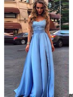 long prom dresses, spaghetti prom dresses, lace bodice prom dresses, satin evening dresses # SIMIBridal #promdresses