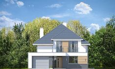 Elewacja frontowa projektu Oszust 2 Morden House, Micro House, Exterior Design, House Plans, Garage Doors, Places To Visit, Outdoor Structures, House Design, Cabin