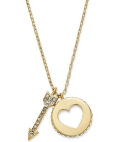 """kate spade new york 12k Gold-Plated Pavé Double Pendant Necklace $68.00 Get twice the chic style with this pavé-accented heart and arrow double pendant necklace created by kate spade new york in 12k gold-plated mixed metal. Approximate length: 16"""". Approximate drop: 1""""."""