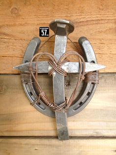 Horseshoe Railroad Spike Cross with Barbed Wire Heart Metal Cross Horseshoe Art Metal Crosses Horseshoe Cross Rustic Metal Cross RSC-084 by OldWarehouse57 on Etsy