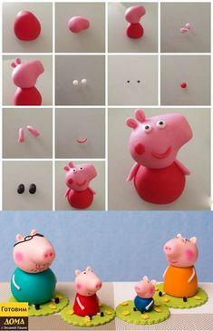 Bolo Da Peppa Pig, Peppa Pig Birthday Cake, Diy Father's Day Crafts, Clay Crafts, Peppa E George, Fondant Toppers, Fondant Cupcakes, Cupcake Toppers, Animal Cupcakes