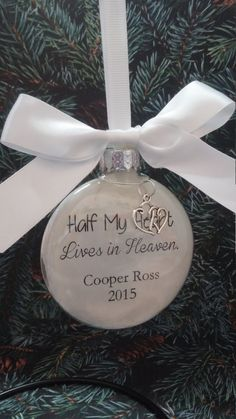 Memorial Christmas Ornament - In Memory of Loved One - Half My Heart Lives in Heaven - Sympathy Gift - Bereavement Memorial- Death of Spouse… Christmas Mom, Christmas Quotes, Christmas Baubles, Christmas Decorations, Christmas Ideas, Memorial Ornaments, Memorial Gifts, Bereavement Gift, Sympathy Gifts