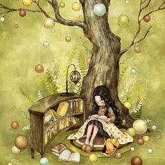 By South Korean artist Aeppol Fantasy Kunst, Fantasy Art, Poster Print, Illustration Noel, Creation Photo, Grafiti, Reading Art, Happy Reading, Forest Girl