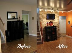 DIY Stone Accent Wall- and what a difference some paint and lighting make!!