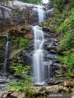 Hike the High Falls Trail to a gorgeous cascading waterfall on the shore of Lake Glenville, north of Cashiers, NC