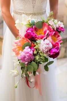 colorful blooming wedding bouquet - photo by Ana & Jerome Photography