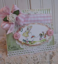 vintage style EASTER WISHES card- little girl and bunnies jump roping card- handmade card. $6.50, via Etsy.