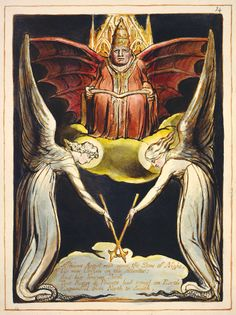 William Blake: 'Europe a Prophecy', object 14 (Bentley 14, Erdman 11, Keynes 11), copy K, 1821. Relief and white-line etching with hand coloring on wove paper. Fitzwilliam Museum, Cambridge, UK