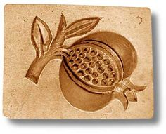 """Pomegranate springerle cookie mold, 3.0x2.3"""" (76x58mm)"""