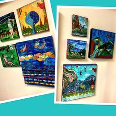 "Esther ""Mommom"" Diamond is a super talented painter, living HERE. now, but originally from South Africa. She has never, ever sold her art before. In fact, she has only gifted a select few. We give her credit for sharing her amazing, colorful, whimsical, story telling pieces with us + you!  Many are mixed media, some have hidden images. They all speak to you. No two are alike. Come see them HERE."
