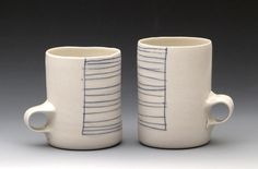 Coffee Mugs, thrown porcelain inlaid cobalt, 8oz by white bike ceramics, via Flickr