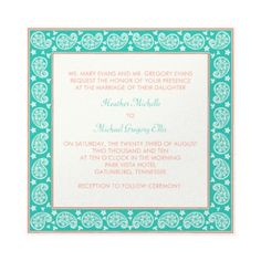 Turquoise & Coral Invitation -- would be nice for a party or shower