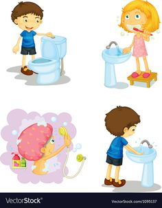 Kids and bathroom accessories vector image on VectorStock Kids Bath Mat, Bathroom Kids, Bathroom Small, Kids Bathroom Accessories, Kindergarten Interior, Dino Park, French Flashcards, Arabic Alphabet For Kids, Health Unit