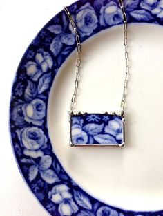 Broken china necklace antique English flow blue roses broken china jewelry