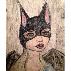 I like where this ended up! :) #sketch #sketchbook #costume #batgirl #drawing #Halloween #charcoal #pastel #art #seattleart #seattleartist