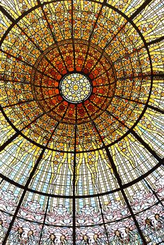 Stained Glass Dome at Palau de la Música Catalana Spain #places #travel #Europe #architecture #art