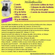 recette du millefeuille au companion Prep & Cook, Cake Factory, French Food, Macarons, French Recipes, Diners, Hui, Robots, Recipes