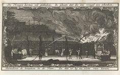 Anonymous | Brand op de Haagse kermis, 9 mei 1758, Anonymous, 1758 - 1759 | Het blussen van de brandende kermiskramen op de Haagse kermis op het Buitenhof, 9 mei 1758. In ornamentele omlijsting met boven en onder een versregel.