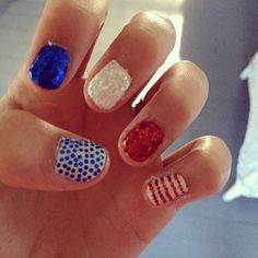 30 Patriotic Nail Art Ideas For The Fourth Of July Cute design if cuticles are cleaned up and the blue single sparkles are set a little more organized.