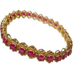 Supper Red - Red Ruby Bracelet w/ Diamonds 14 KT Yellow Gold - Tennis Bracelet…